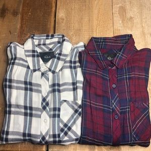 Lot (2) Rails Hunter Button Down Plaid Shirts